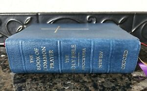 The Book of Common Prayer Holy Bible Apocrypha New RSV Oxford 1990 Blue Leather