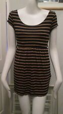 NEW LOOK,BROWN,BLACK STRIPED,CAP SLEEVE,C-NECK, MICRO MINI DRESS SIZE 8