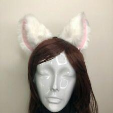 Cat ear Kitty Headwear White Furry Pink White Fur inside Animal Headband Costume