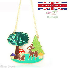Fairytale Forest Pendant Necklace Kitsch Japan Deer Mushroom Squirrel Tree UK