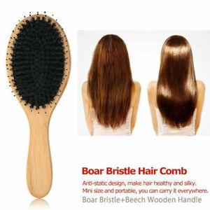 Hair Brush Men Women Wood Boar Bristle Brush Comb Hair Brush Saloon Barbers UK