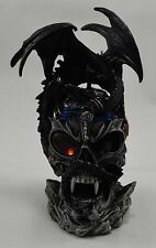 Superb Large Fantasy Dragon on Skull Statue/Ornament - Colour Changing LED Light