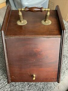 Antique Victorian Mahogany Brass Ornate Vintage Coal Scuttle Box With Linner