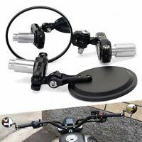 "2*For Suzuki Honda Kawasaki 7/8"" Motorcycle Handle Bar End Rearview Side Mirrors"