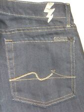 7 For All Mankind Jeans Slim Straight Leg Dark Blue w Gold Stitching Sz 27