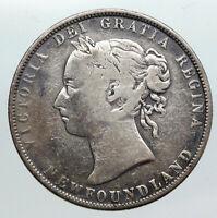 1896 CANADA NEWFOUNDLAND UK Queen VICTORIA Antique Silver 50 Cents Coin i90567
