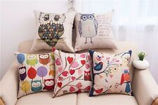 Cushion Cover Cotton Linen owl Seat Cushion Sofa Couch Slipcover Pad Pillow Case