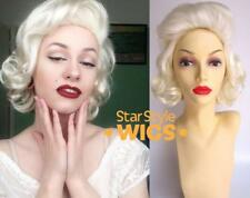 DELUXE MARILYN MONROE WHITE BLONDE CURLY COSTUME WIG 1950's PIN UP