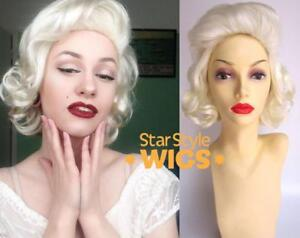 DELUXE MARILYN MONROE WHITE BLONDE SHORT CURLY CLASSIC COSTUME WIG 1950s PIN UP