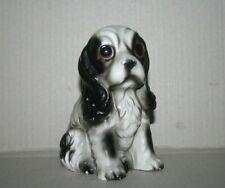 Vtg Black & White Cocker Spaniel Dog Hand Paint Glazed Bisque Porcelain Figurine