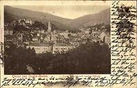 Baden-Baden Postkarte AK 1900 Totalansicht mit neuem Schloss gelaufen frankiert