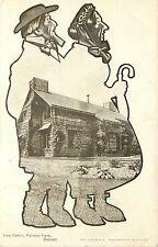 Postcard Vignette shaped like Man and Woman Log Cabin Palmer Park Detroit MI