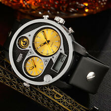 OHSEN Mens Aviator Style Date Light Yellow Digital 50mm Case Quartz Wrist Watch