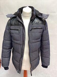 Men's ZARA MAN Denim Collection Navy Blue Padded Hooded Coat Size Medium