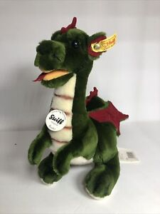 """Steiff Green Red Rocky Dragon Drache Soft Plush Toy 13.5"""" Made in Germany 015014"""
