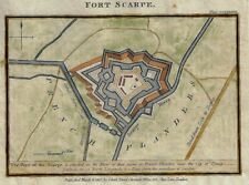 """Gold Map - """"FORT SCARPE"""" (French Flanders) -  Hand-Colored Lithograph - 1817"""