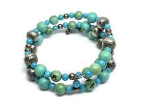 Southwest Carolyn Pollack Relios Sterling Silver Turquoise Coil Wrap Bracelet