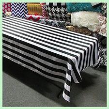 "lovemyfabric Satin 2 Inch Black & White Striped Tablecloth 58""X120"" Inch"