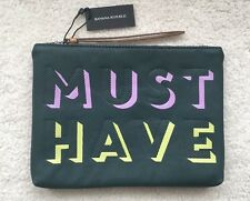 NWT Banana Republic MUST HAVE small Clutch Purse Zipper Pouch Dark green 8.5x6.3