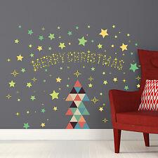 Night Wall Stickers Triangles Star Christmas Moon Stars Glow Dark 130cm x 97cm