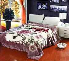 Faux Mink, Ultra- Plush,Raschel Blanket/Queen Size/Guylanta/ Purple/Floral Print