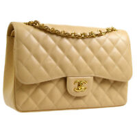 CHANEL Quilted CC Jumbo Double Flap Chain Shoulder Bag Beige Caviar AK36859c