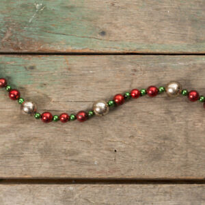 Ragon House Retro Aged Silver Red Green Bead 9 Ft Long Christmas Garland
