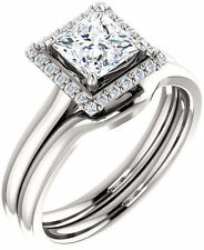1.12 carat Princess & round Diamond Halo Engagement Wedding 14k White Gold Ring
