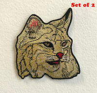 Cute Tabby cat Art Badge Iron on Sew on Embroidered Patch Set of 2