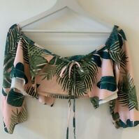 PINK FLORAL CROP TOP 10 LAYERED SUMMER HOLIDAY BEACH SWIM SUN PRETTY IBIZA MARBS