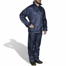 vidaXL Men's 2-Piece Rain Suit with Hood M Navy Blue Waterproof Jacket Pants