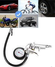Car Tire Inflator Gauge Flexible Hose 220 PSI Pistol Style Air Chuck Pneumatic
