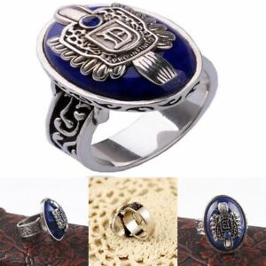 The Vampire Diaries Daylight Blue Ring Salvatore Damon Antique Silver Plated New