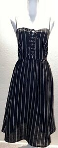 Reformation Tori Black Pinstripe 100% Linen Midi Dress Black 4 USA Pockets Blog