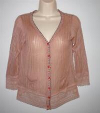 "Nick & Mo Pink Loose Knit Lace Trim Cardigan Sweater Size XS Bust 33"" Short"