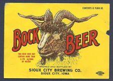 BOCK Beer bottle label, Sioux City, Iowa, non-IRTP, 1950s