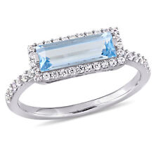 Sterling Silver Sky Blue Topaz and White Sapphire Rectangular Halo Ring