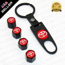 Universal Red Trd Black Wheel Tire Valves Dust Stems Air Caps Keychain Emblem