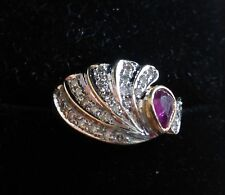 GORGEOUS ELEGANT 14K Yellow Gold RING Natural RUBY AND DIAMONDS Sweep Size 5