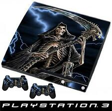 Playstation 3 SLIM Console Sticker GRIM REAPER GOTHIC Style Skin & 2 X Pad Skins