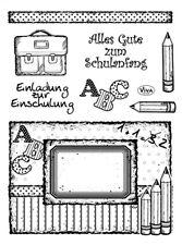 "Clear Stamps Stempel ""Einschulung"" Schulanfang, Stifte, Tafel, Viva Decor"