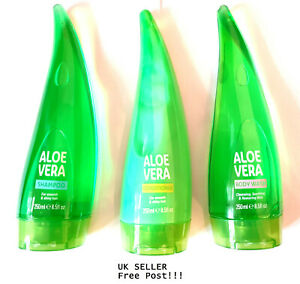 XHC Aloe Vera Shampoo,Conditioner & Body Wash 250ml Together Soothes Nourishes