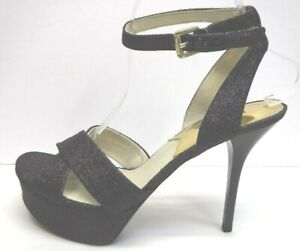 Michael Kors Size 8.5 Black Glitter Sandals New Womens Shoes