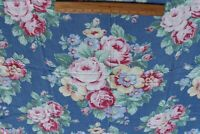 """Vintage c1940 American Cotton Roses On Blue Ground Home Dec Fabric~L-32""""X W-34"""""""