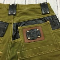 90s VTG PACO SPORT Olive LEATHER Jean Shorts Denim HIP HOP 32 Rabanne BAGGY