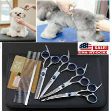 """6""""Professional Pet Dog Grooming Scissors Set Straight Curved Thinning Shears #A"""
