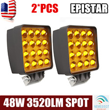 5D+ 2X 48W Spot Square LED Light Bar Driving/Fog SUV 4WD UTE Boat Offroad Amber