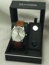 Sekonda 3839G Gents Leather Strap Quartz Watch And Cufflink Gift Set RRP £49.99
