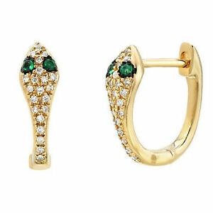 Diamond Snake Huggie Hoop Earrings Green Emerald eyes Solid 10K Yellow Gold