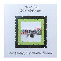 Personalised Thank You Teacher Card Handmade  Thank You Charm
